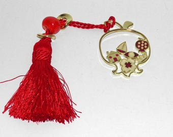 Beautiful Gold Pomegranate Charm with Red Enamel Color - Metal Good Luck Charm Gift Wrap - Greek Souvenir - Brass Plated - House, Evil Eye