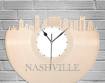 Nashville Skyline - Nashville Art Clock,  Nashville Wall Art,  Nashville Clock, Cityscape Clock, Vinyl Record Clock,  Unique Wall Clock