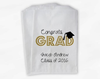2018 Congrats Grad Graduation Party Personalized Candy Buffet Bags - Set of 25 Gold High School Custom Favor Bags in School Colors (0191)