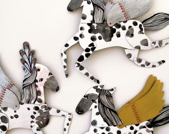 Pearl / Appaloosa Horse Articulated Decoration  / Hinged Beasts Series