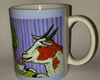 25% off goat art - Goat at the cafe coffee shop art mug cup 11 oz gift