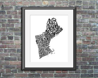 New England typography map art unframed print customizable personalized custom state poster wall decor engagement wedding housewarming gift