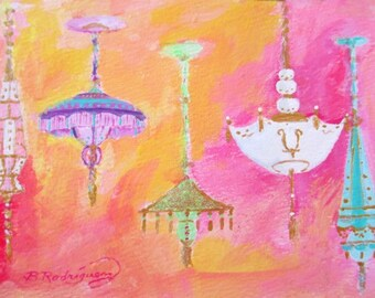 Original Painting * CHANDELIERS * Art By Rodriguez * Small Art Format