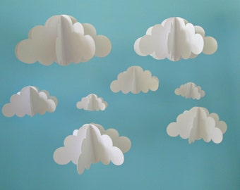 Two Separate Hanging Cloud Mobiles, Hanging Baby Mobile, 3D Paper Mobile, Nursery Mobile, Baby mobile