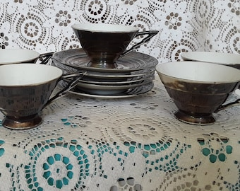Porcelain cups and saucers