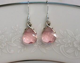 Pink Bridesmaid Earrings Pink Bridesmaid Jewelry Set Swarovski Crystal Earrings, Bridesmaid Earrings, Drop Earrings