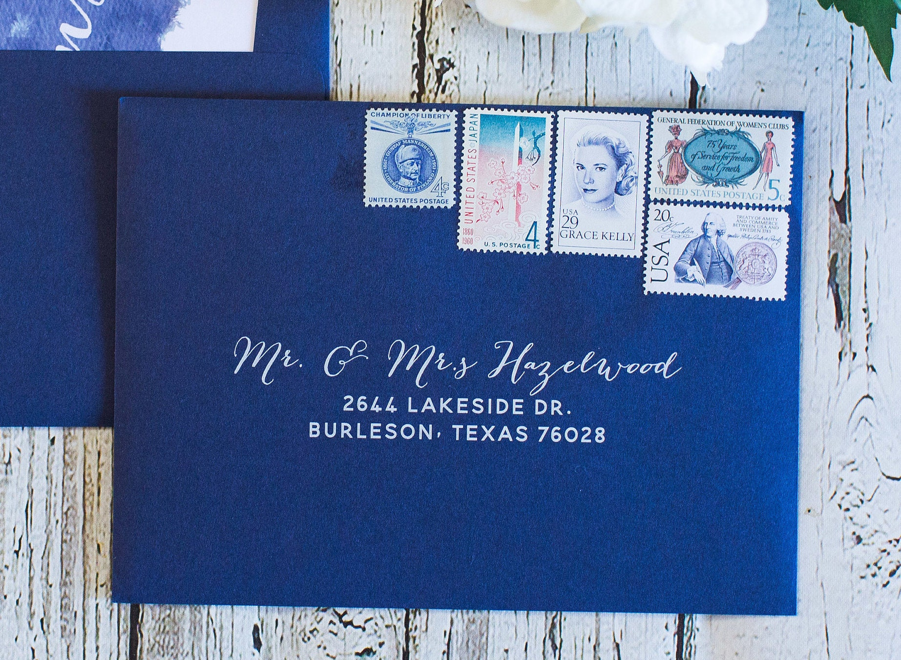 Navy & white ink wedding calligraphy guest and or return address