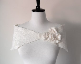 Bridal Shawl Capelets White Ivory Wedding Stole Bridal Wrap Shrug Wool and Silk Spring Wedding Prom with flowers and fresh water pearls