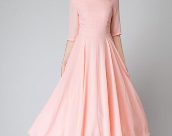 wedding dress, pink dress, bridesmaid dress, chiffon dress, half sleeve dress, maxi dress, peach dress, prom dress, party dress 1524