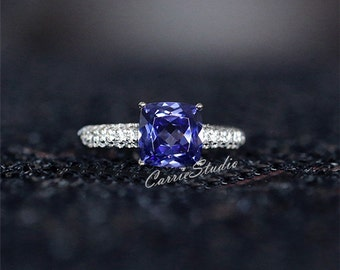 7mm Cushion Lab Tanzanite Ring Tanzanite Engagement Ring/ Wedding Ring Sterling Silver Anniversary Ring Promise Ring