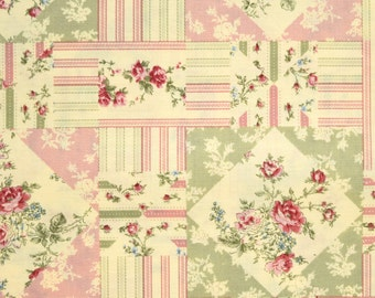 Cotton Quilt Fabric - patchwork pattern - ivory pink green - 1 YD - By the yard - yardage - half yard - fat quarter - TWT106