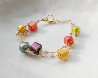 14k Gold Fill Murano Glass Bracelet