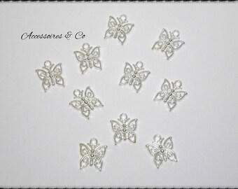 Set of 20 small silver Butterfly charms