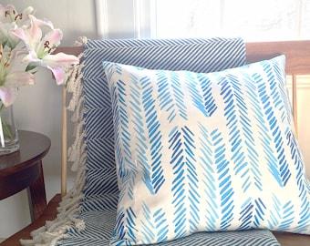 "Blue Chevron Pillow Cover (20"" x 20"")"