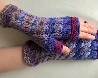 Handmade purple, blue, burgundy ( multicolor ) fingerless gloves, wrist warmers, fingerless mittens. Knitted of 100 % wool.
