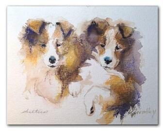 Dog portrait Sheltie puppies shetland sheepdog print dog art dogs watercolor -