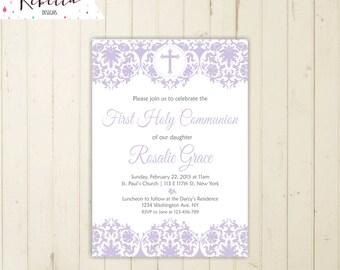 Lavender first communion invitation girl first communion invite holy communion invitation christening invitation lilac invitation 169