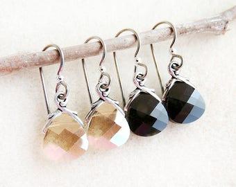 Swarovski Kristall Ohrringe, nicht allergen, Niob Ohrhaken, Golden Shadow, Jet-Schwarz, Silber, Gold, schwarz, handgemacht, Geschenk für sie