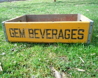 Vintage Yellow Gem Beverages Soda Crate - Wellston OH