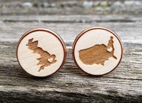 Bride & Groom Country Cufflinks. CHOOSE YOUR PLACES. Laser Engraved Wood. Wedding, Groomsmen Gift, Dad. Map
