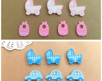 10x Baby Shower Embellishment Wood Pieces - Blue or Pink