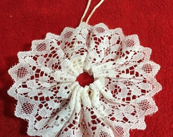 Lace Christmas Snowflake Ornament - Ribbon Lace