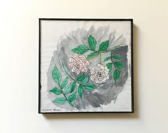 41/100: little roses - original framed watercolor illustration