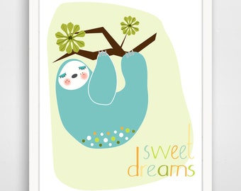 Sweet Dreams Sloth - Nursery Decor Print - Neutral Nursery - Sloth Baby Art - Sloth Wall Art