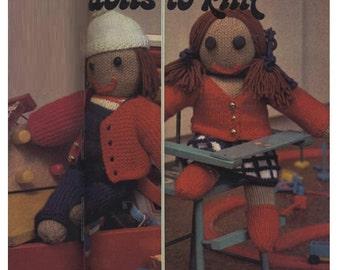 Knitting Pattern 70s Jack and Jill Dolls Pattern