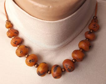 faux amber jewelry gift ideas for women bead necklace amber color handmade jewelry polymer clay birthday gift to wife Universal jeweler
