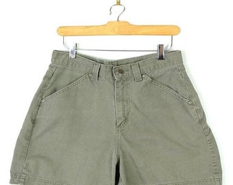 ON SALE Vintage Pale Olive Green Denim Shorts from 90's/W28*
