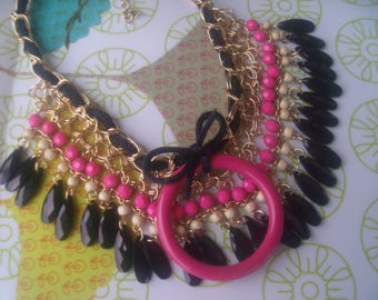 BIB NECKLACE, black, pink, gold and pearls... so chic!