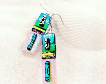 Dichroic glass jewelry, Fused glass earrings, Dichroic glass earrings, Green earrings, dichroic jewelry, dichroic earrings, fused glass art