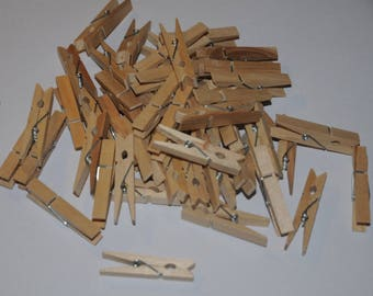 Set of 50 natural wooden clothespin clips