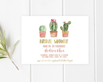 Bridal Shower Invitation, Bridal Shower Invite, Succulents, Cactus, Succulent Bridal Shower, Garden, Succulent Invites, Brides, Bridal [601]