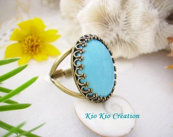 Adjustable ring, oval cabochon, stone, blue howlite turquoise, beautiful Crown adjustable open ring, brass, women's fashion jewelry