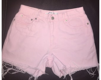 High Waisted Shorts Vintage high-waisted cut offs Tommy H denim 90s 27 Pink shorts