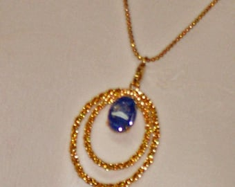 Lapis and Rutilated Quartz Necklace - One of a Kind Necklace - Lapis and Gold Necklace - Rutilated Quartz and Gold Necklace