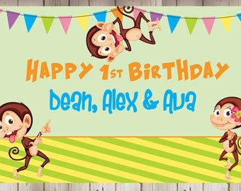 Personalized Cute Monkeys Birthday Party Banner   Triplets Baby Shower   Triplets Party   1st Birthday Party Banner