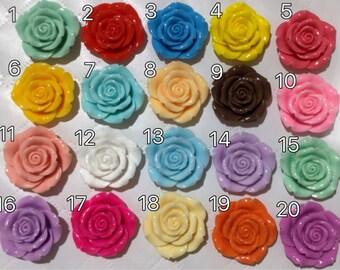 6 Stk 45 mm gemischte Rose Cabochon Flowers.flat wieder blühen, gemischte Rose rose cabochon, Harz Blume, große rose Cabochon Blume, 45 mm rose