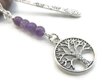 Amethyst bookmark - silver metal bookmark - tree of life bookmark - silver tree bookmark - silver bookmark - gift for book lover