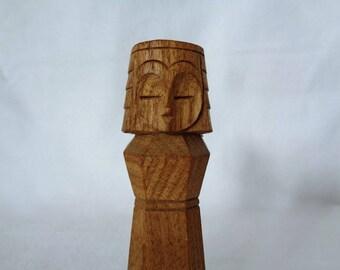 VJ894 :Nipopo Kokeshi, Wooden vintage Japanese Ainu  NIPOPO Kokeshi doll/figure from Abashiri,hand made in Japan
