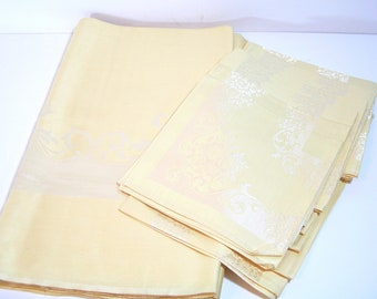 Vintage Yellow Damask Tablecloth with Napkins