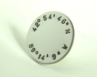 "Latitude and Longitude Personalized Tie Tac  3/4"" Custom Tie Pin Wedding Groom's Gift Best Man's Custom Tie Tack - Initials Date Tie Pin"