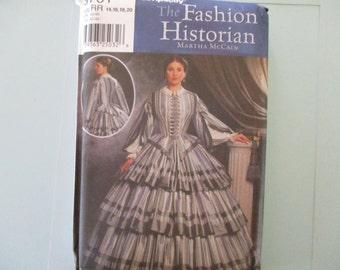 Historical Costume Simplicity Pattern Misses Civil War Ear 1850-1860's Dress New 2001 Pattern New Uncut Sizes 14, 16, 18, 20