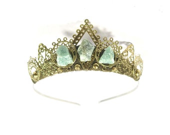 Rosamund Tiara with Raw Aventurine Stones - by Loschy Designs