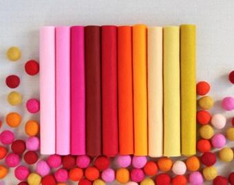 Wool Felt // Warms Palette // Warm Hues, Wool Blend, Merino Felt Sheets, Warm Color Assortment, Pink Felt, Orange Felt, Yellow Felt