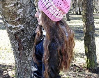 Pink slouchy beanie, slouchy cotton hat, vegan hat