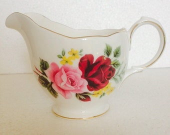 Antique Milk jug or creamer - Pink and Red rose with Yellow Flowers  - Queen Anne - vintage fine bone china