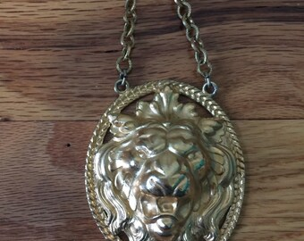 Vintage Gold Napier 3-D Lion Pendant Necklace